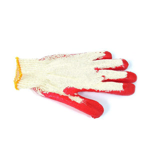 100 Pairs String Knit Red Palm Latex Dipped Gloves - Bridge Fasteners