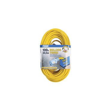 100ft 14/3 SJTOW Yellow Bulldog Tough® Cord w/Primelight® - Bridge Fasteners