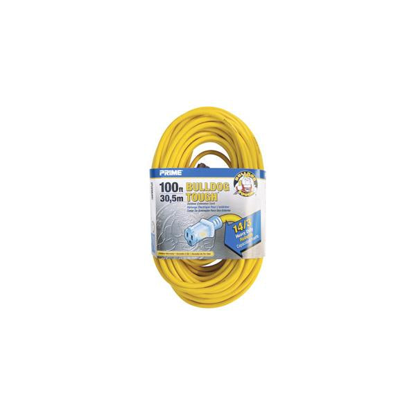 100ft 14/3 SJTOW Yellow Bulldog Tough Õ Â Cord w/Primelight Õ Â - Bridge Fasteners