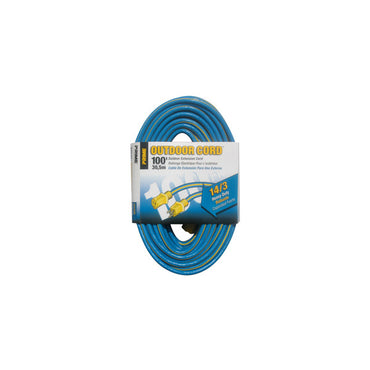 100ft 14/3 SJTW Blue/Yellow Extension Cord - Bridge Fasteners