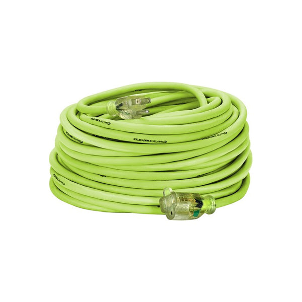 100ft 14/3 SJTW Flexzilla® Green Outdoor Extension Cord with Green Power Indicator Light - Bridge Fasteners