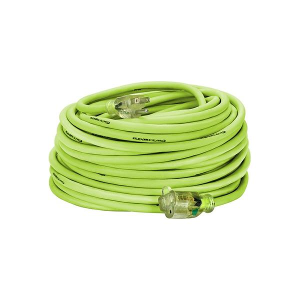 100ft 14/3 SJTW Flexzilla ¨ Green Outdoor Extension Cord with Green Power Indicator Light - Bridge Fasteners