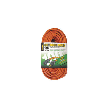 100ft 16/3 SJTW Orange Outdoor Extension Cord - Bridge Fasteners