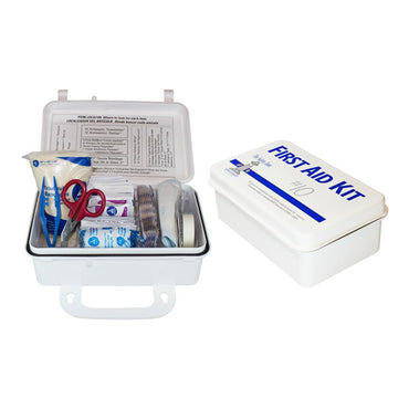 10 Person Plastic First Aid Kit with Wall Mountable Handle - Bridge Fasteners