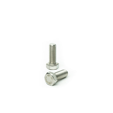 "3/8""-16 x 1"" Hex Head Tap Bolt Cap Screw, Stainless Steel 18-8, Fully Threaded, Bright Finish, Machine Point"