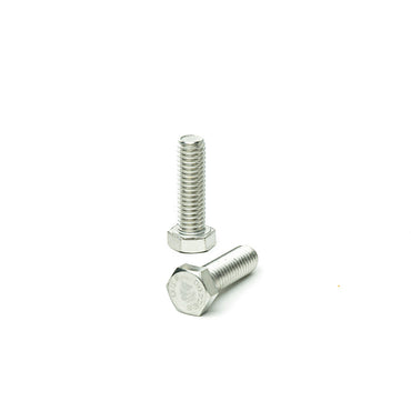 "3/8""-16 x 1 1/4"" Hex Head Tap Bolt Cap Screw, Stainless Steel 18-8, Fully Threaded, Bright Finish, Machine Point"