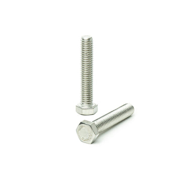 "1/4""-20 x 2"" Hex Head Tap Bolt Cap Screw, Stainless Steel 18-8, Fully Threaded, Bright Finish, Machine Point"