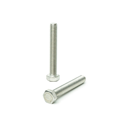 "1/2""-13 x 2 1/2"" Hex Head Tap Bolt Cap Screw, Stainless Steel 18-8, Fully Threaded, Bright Finish, Machine Point"