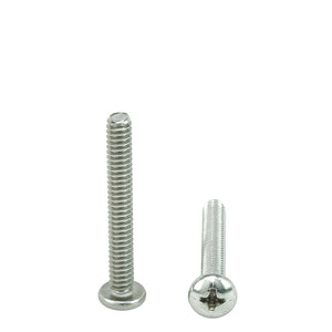 "#6-32 x 1-1/2"" Pan Head Machine Screws, Phillips Drive, Stainless Steel 18-8, Full Thread, Bright Finish, Machine Thread"