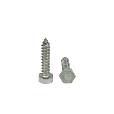 "3/8 x 2"" Hex Head Lag Bolt Screws 18-8 (304) Stainless Steel, Qty 25"