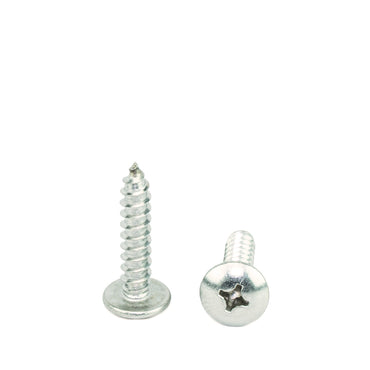 "#10 x 1"" Truss Head Phillips Sheet Metal Screws Self Tapping,18-8 Stainless Steel, Full Thread, Qty 100"