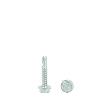 "#14 x 3/4"" Hex Washer Head Self Drilling Screws, 410 Stainless Steel Self Tapping, Full Thread"