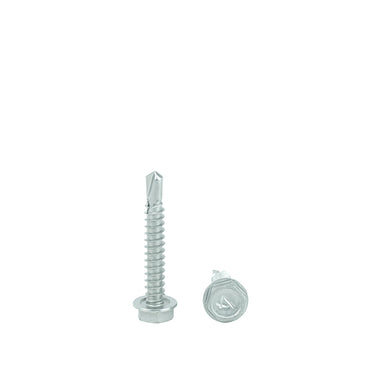 "#14 x 1-1/4"" Hex Washer Head Self Drilling Screws, 410 Stainless Steel Self Tapping, Full Thread"