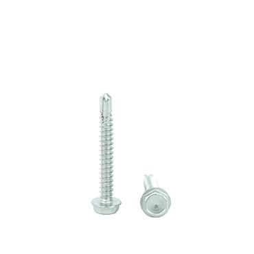 "#14 x 1-1/2"" Hex Washer Head Self Drilling Screws, 410 Stainless Steel Self Tapping, Full Thread"