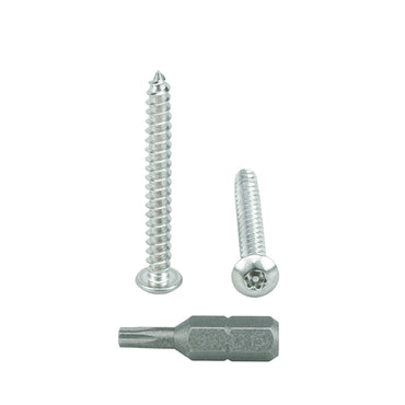 "#8 x 1-1/2"" Button Head Torx Security Sheet Metal Screws, Includes bit, 18-8 Stainless Steel Tamper Resistant"