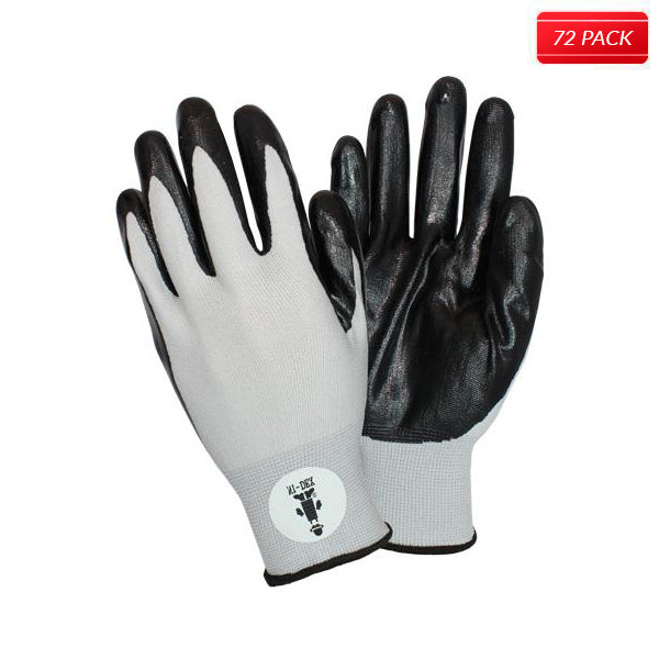 Black/Gray Coated Knit Gloves (72 Pairs)