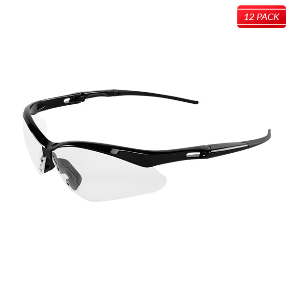 Bullhead BH2251AF Spearfish Safety Glasses - Shiny Black Frame - Clear Lens 12 pack - Bridge Fasteners