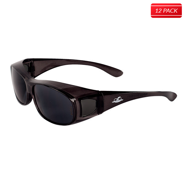 a09c4bc92b16d Bullhead BH233 Over-the-Glass Safety Glasses - Crystal Black Frame - Smoke  Lens 12 pack