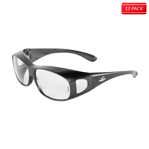 Bullhead BH291 Over-the-Glass Safety Glasses - Shiny Pearl Gray Frame - Clear Lens 12 pack - Bridge Fasteners
