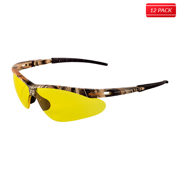 Bullhead BH61084AF Stinger Safety Glasses - Camouflage Frame - Yellow Lens 12 pack - Bridge Fasteners