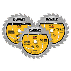 DEWALT 7.250 24T Framing Saw Blade Black (3-Pack) - Bridge Fasteners