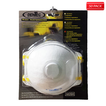Dentec Safety - N95 DISPOSABLE RESPIRATOR WITH EXHALE VALVE, 2 MASKS/BLISTER PACK, 25 BLISTER PACKS/CASE (50 MASKS) - Bridge Fasteners