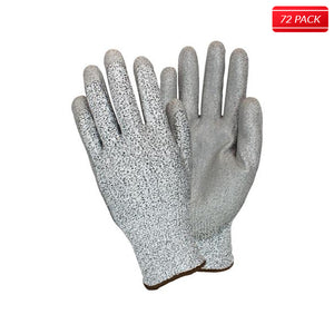 Gray Coated Cut Resistant Knit Gloves (72 Pairs)