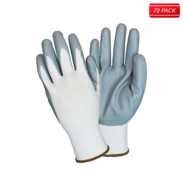 Gray/White Coated Knit Gloves (72 Pairs)