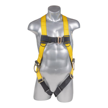 Construction Safety Harness 3 Point Pass-Thru Legs, Back/Side D-Rings, Yellow - Defender Safety Products