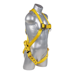 Construction Safety Harness 3 Point, Grommet Legs, Back D-Ring, Yellow - Defender Safety Products