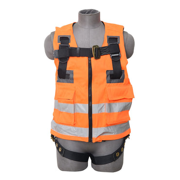 PALMER SAFETY HARNESS/VEST COMBO 3PT., GROMMET LEG. BACK D-RING, ORANGE COLOR - Bridge Fasteners