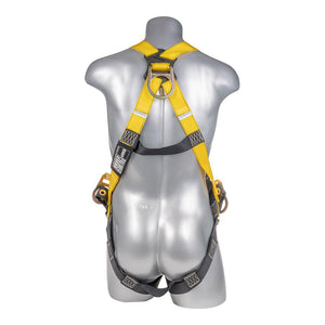 Construction Safety Harness 3 Point, Grommet Legs, Backside D-Rings, Yellow - Defender Safety Products