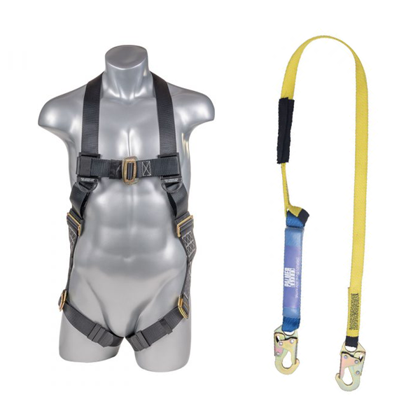 Full Protection 5pt. Body Harness and Lanyard Combo - Defender Safety Products