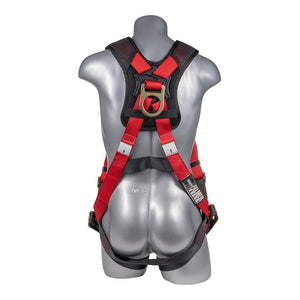Construction Safety Harness 5 Point, Padded Back, Padded Grommet Legs, Back D-Ring, Red/Black - Defender Safety Products