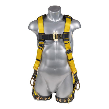 Construction Safety Harness 5 Point, Grommet Legs, Padded Back, Back/Side D-Ring, Yellow - Defender Safety Products
