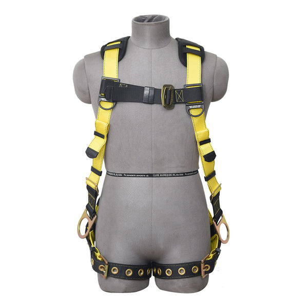 PALMER SAFETY HARNESS 5PT. GROMMET LEG, PADDED BACK, BACK/SIDE D-RINGS, YELLOW COLOR - Bridge Fasteners