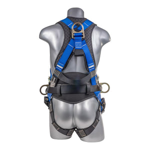 Construction Safety Harness 5 Point, QCB Chest, Grommet Legs, Back/Side D-Rings, Positioning Belt, Red - Defender Safety Products