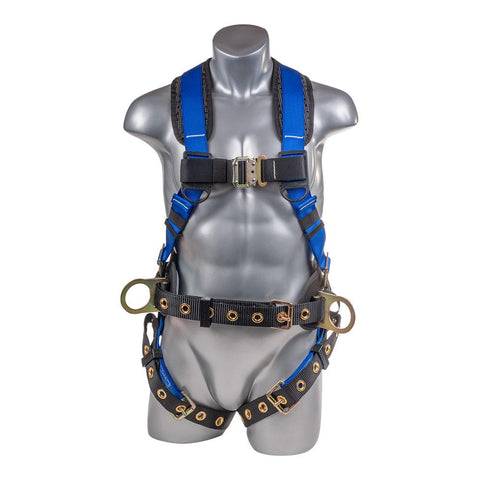 Construction Safety Harness 5 Point, Grommet Legs, Back D-Ring, Blue