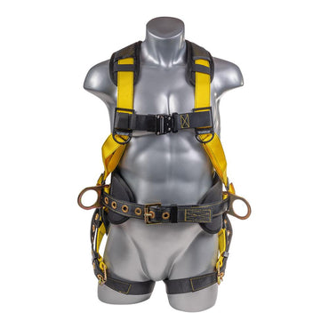 Construction Safety Harness 5 Point, Back Padded, QCB Chest, Grommet Legs, Back/Side D-Rings, Positioning Belt, Yellow - Defender Safety Products