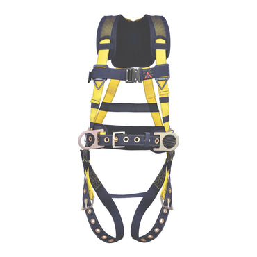 5PT. HARNESS BACK PADDED, QCB CHEST, GROMMET LEG, BACK/SIDE D-RINGS, POSITIONING BELT. RED COLOR - Bridge Fasteners