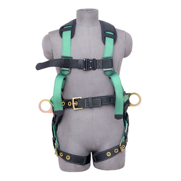 5PT. HARNESS BACK PADDED, QCB CHEST, GROMMET LEG, BACK/SIDE D-RINGS, POSITIONING BELT . GREEN COLOR - Bridge Fasteners