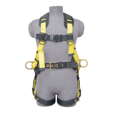 5PT. HARNESS BACK PADDED, QCB CHEST, GROMMET LEG, BACK/SIDE D-RINGS, POSITIONING BELT. YELLOW COLOR - Bridge Fasteners