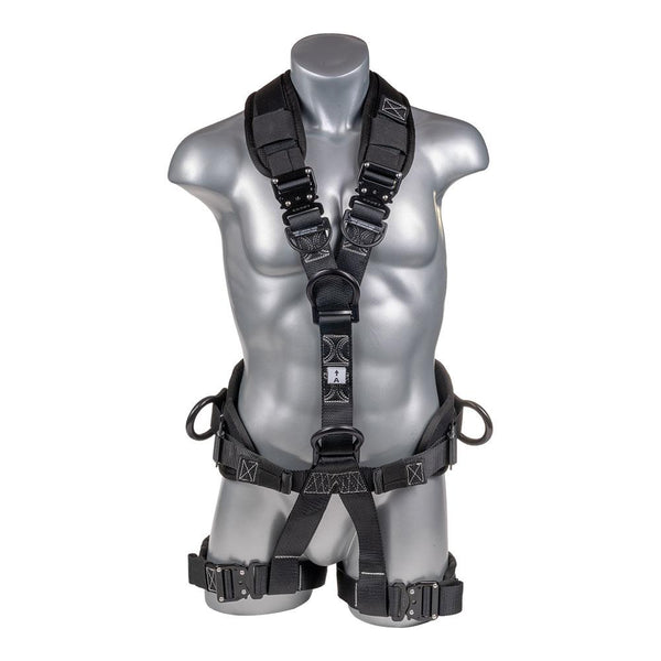 Construction Safety Harness 5 Point, QCB, Padded Back & Leg, Back/Side D-Rings, Positioning Belt, Dual Front D-Rings - Defender Safety Products