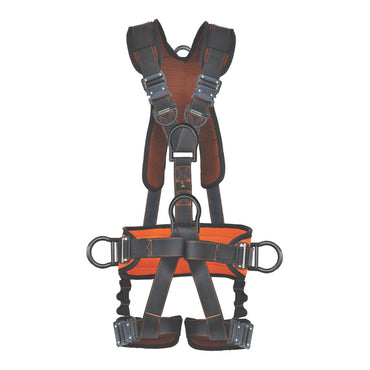 PALMER SAFETY HARNESS 5PT., QCB, PADDED BACK & LEG, BACK/SIDE D-RINGS, POSITIONING BELT, DUAL FRONT D-RINGS - Bridge Fasteners