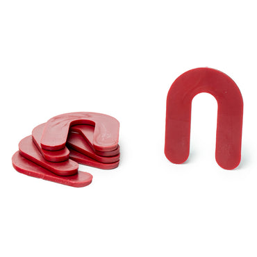 "1/8"" x 1-1/2"" x 2"" Plastic Shims Structural Horseshoe U Shaped, Tile Spacers, Red, 100/1000"