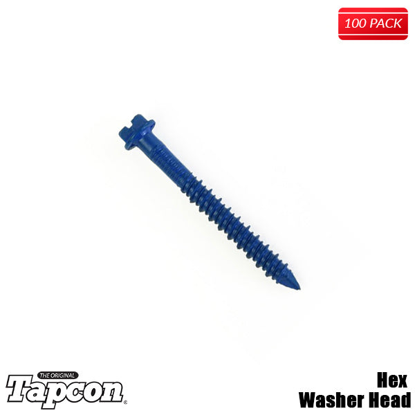 ORIGINAL BLUE TAPCON ¨ HEX WASHER HEAD Concrete Screw Climaseal Masonry Anchor 100 Per Box - Bridge Fasteners
