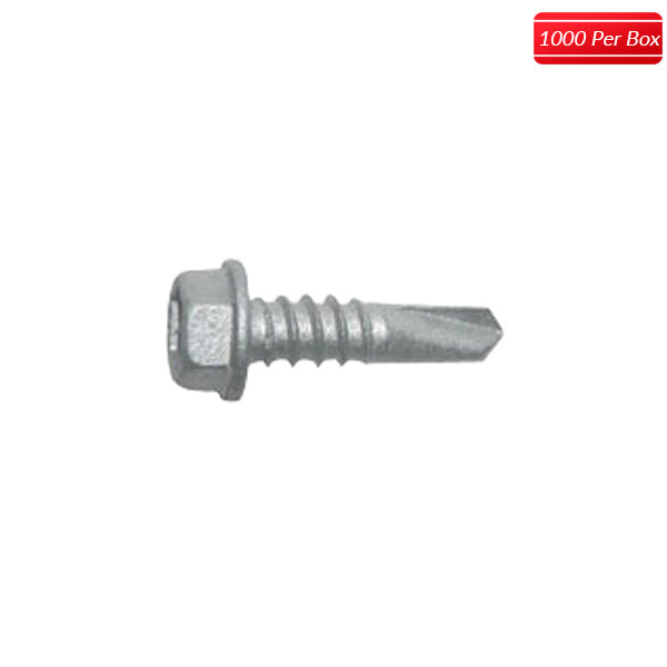 "ITW Buildex 1/4-28 x 3"" Hex Washer Head Teks Steel to Steel Self-Drilling (1000 per box) - Bridge Fasteners"