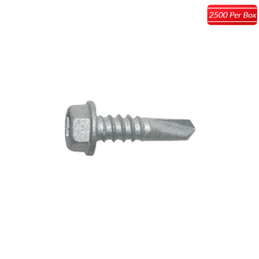 "ITW Buildex 1/4-14 x 7/8"" Hex Washer Head Teks Steel to Steel Self-Drilling (2500 per box) - Bridge Fasteners"