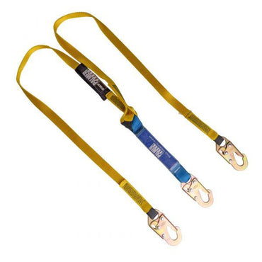 Construction Safety Dual Leg Lanyard 6 Ft. 12 Ft. Free Fall. Blue Shock Pack, Small Hooks - Defender Safety Products