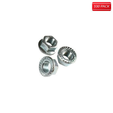 "1/4"" Serrated Flange Nuts 18.8 Stainless Steel (100 Qty.)"